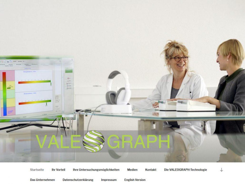 Texter Bielefeld: Die VALEOGRAPH Deutschland GmbH produziert und vertreibt ein innovatives medizinisches Untersuchungsgerät. Karin Dippel von der Text-Agentur NA SO WAS erstellte die Texte für die Website.
