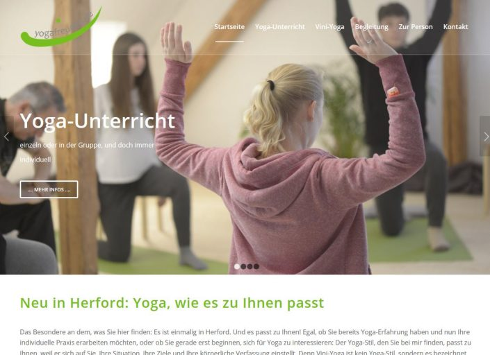 Texter Bielefeld: yogafreuden.de bekam von NA SO WAS das Website-Konzept, die Texte und das Foto-Konzept.