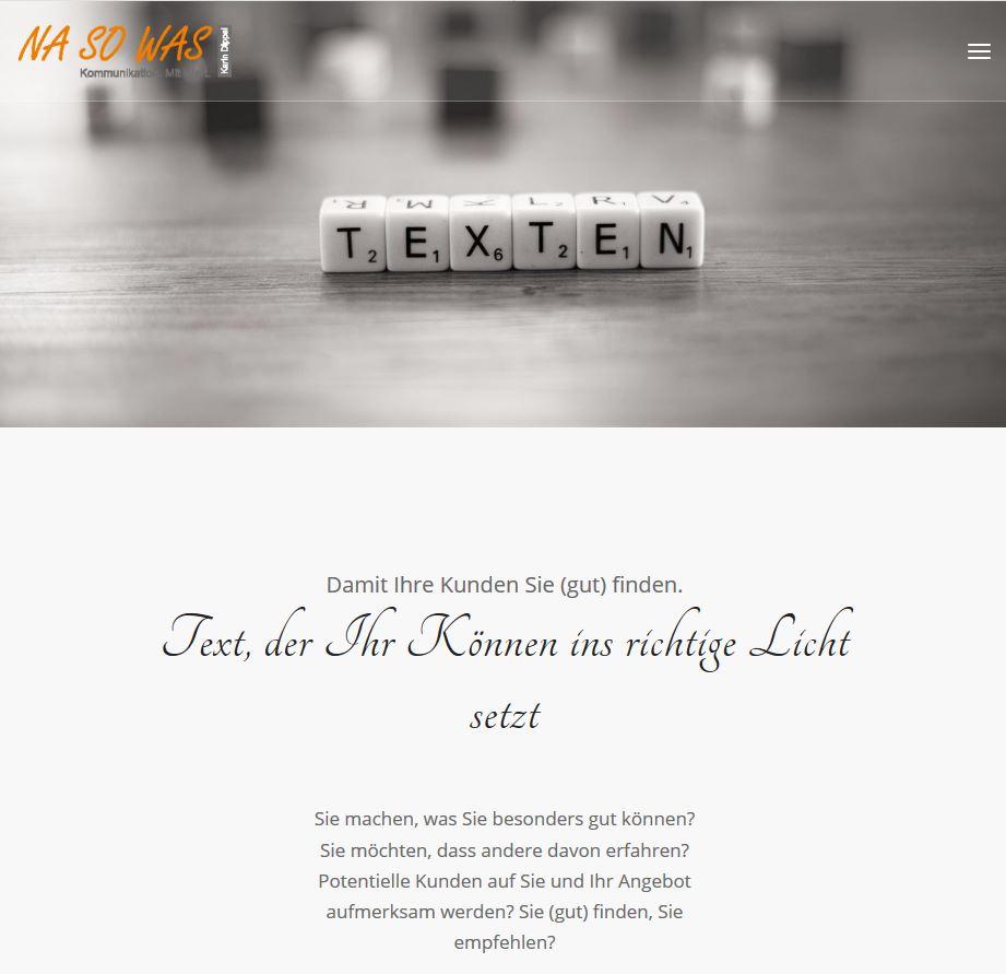 Texter Bielefeld: Konzept, Text und Umsetzung - die Website für ihre Text-Agentur NA SO WAS ist das Werk von Karin Dippel.
