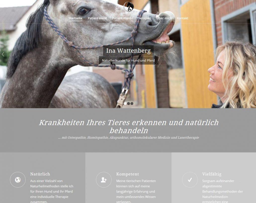 Texter Bielefeld: Referenz Naturheilpraxis für Hund und Pferd Ina Wattenberg / Konzept, Texte und die Website stammen von Karin Dippel, Text-Agentur NA SO WAS