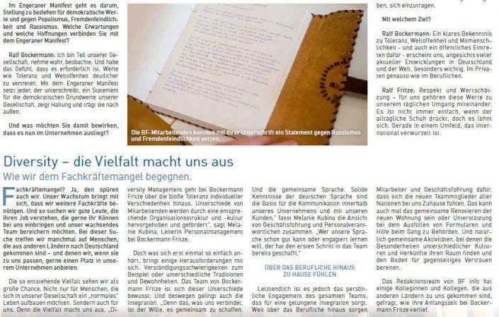Texter Bielefeld: Referenzen bf info 2/2019 / Kunden- und Mitarbeitermagazin von Bockermann Fritze