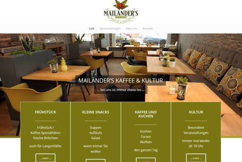 Texter Bielefeld: Referenz Website für Mailänder's Kaffee und Kultur in Bielefeld, Konzept, Text, Webdesign